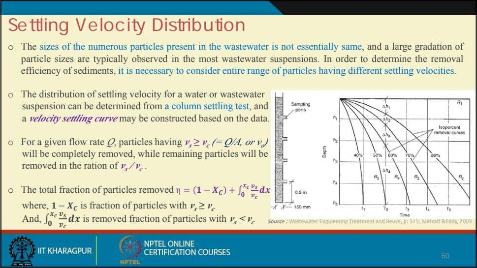 Settling Velocity Distribution o The sizes of the numerous particles present in the wastewater is