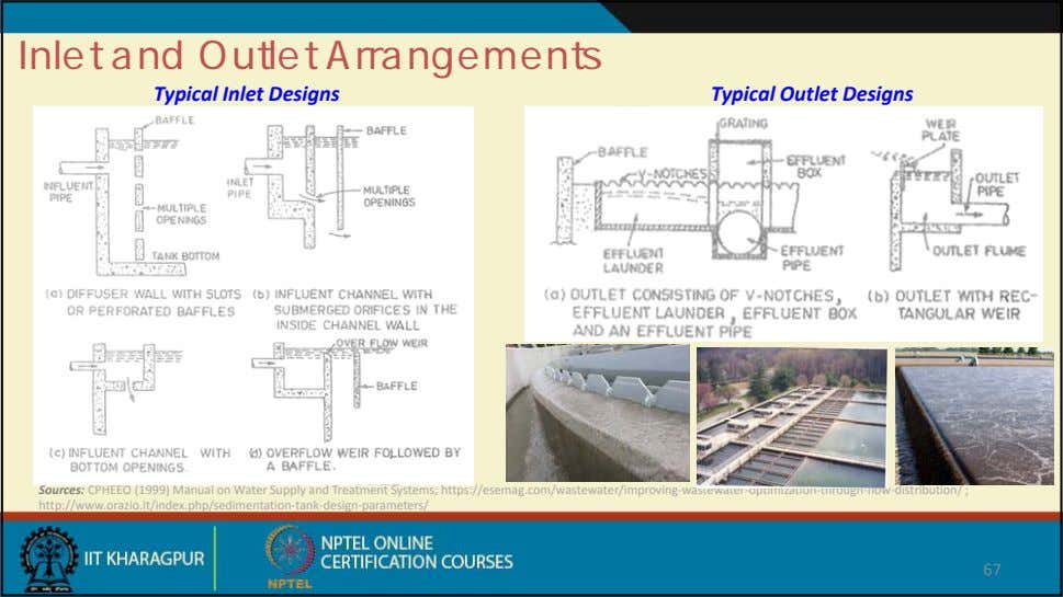 Inlet and Outlet Arrangements Typical Inlet Designs Typical Outlet Designs Sources: CPHEEO (1999) Manual on