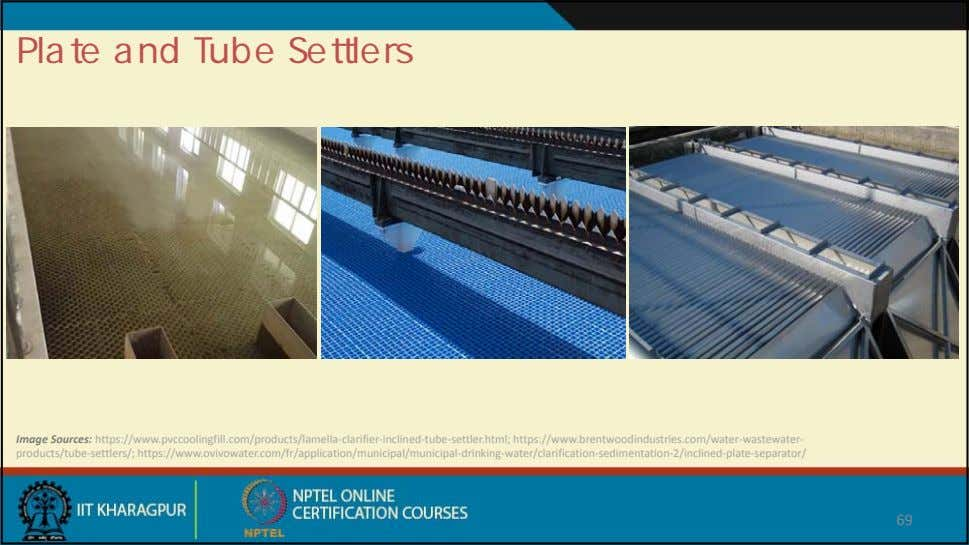 Plate and Tube Settlers Image Sources: https://www.pvccoolingfill.com/products/lamella ‐clarifier‐inclined‐tube