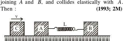 joining A and Then : B, and collides elastically with A. (1993; 2M) v L