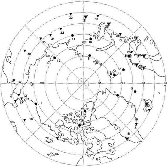 L14801 CHYLEK ET AL.: ARCTIC AMPLIFICATION AND THE AMO L14801 Figure 1. Map of Arctic stations