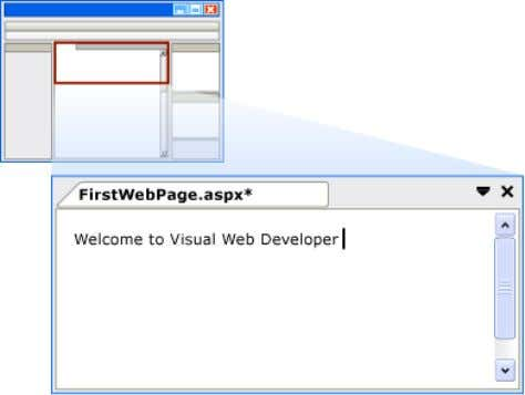typed in Design view. Welcome text as seen in Design view 3. Switch to Source view.