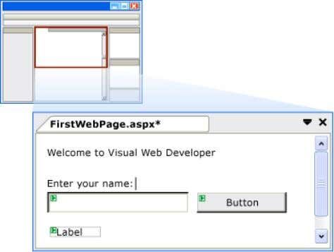 screen shot shows how the three controls appear in Design view. In Controls in Design View