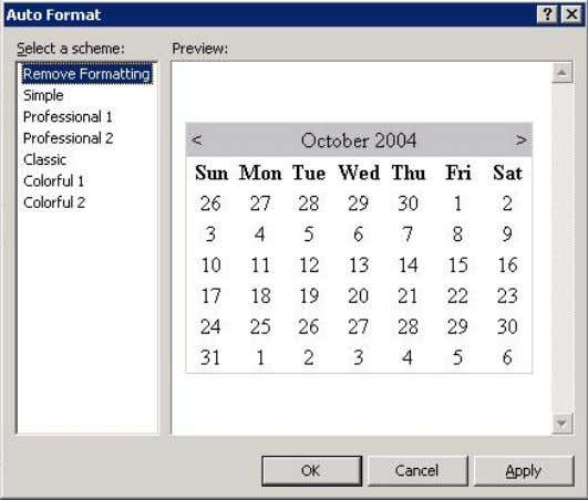 control. Auto Format dialog box for the Calendar control 4. From the Select a scheme list,