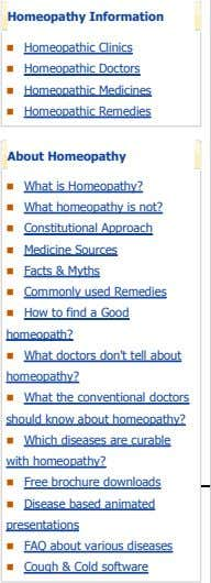 Homeopathy Information Homeopathic Clinics Homeopathic Doctors Homeopathic Medicines Homeopathic Remedies About