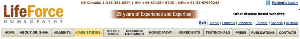 US-Canada: 1-315-351-0898 | UK: +44-871284-5205 | Other: 91-22-67993242 Patient's Login Other disease based websites