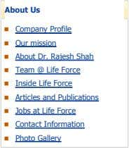 About Us Company Profile Our mission About Dr. Rajesh Shah Team @ Life Force Inside