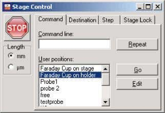 by opening the Command tab in Stage Control. Select Faraday Cup on Holder and click Go.