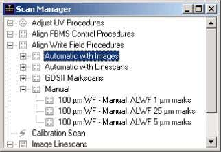 10 2 RAITH PROCEDURES Figure 14: Scan Manager window. in the crosshairs. Zoom in to double