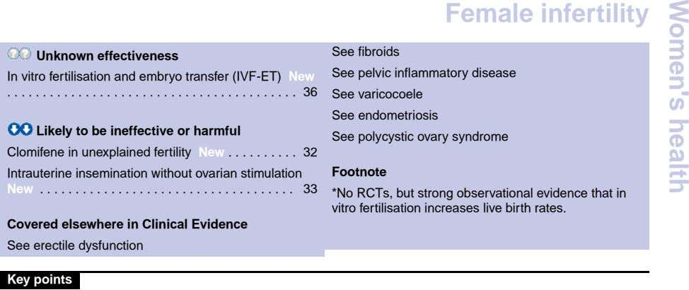 Female infertility Unknown effectiveness In vitro fertilisation and embryo transfer (IVF-ET) New . . . .