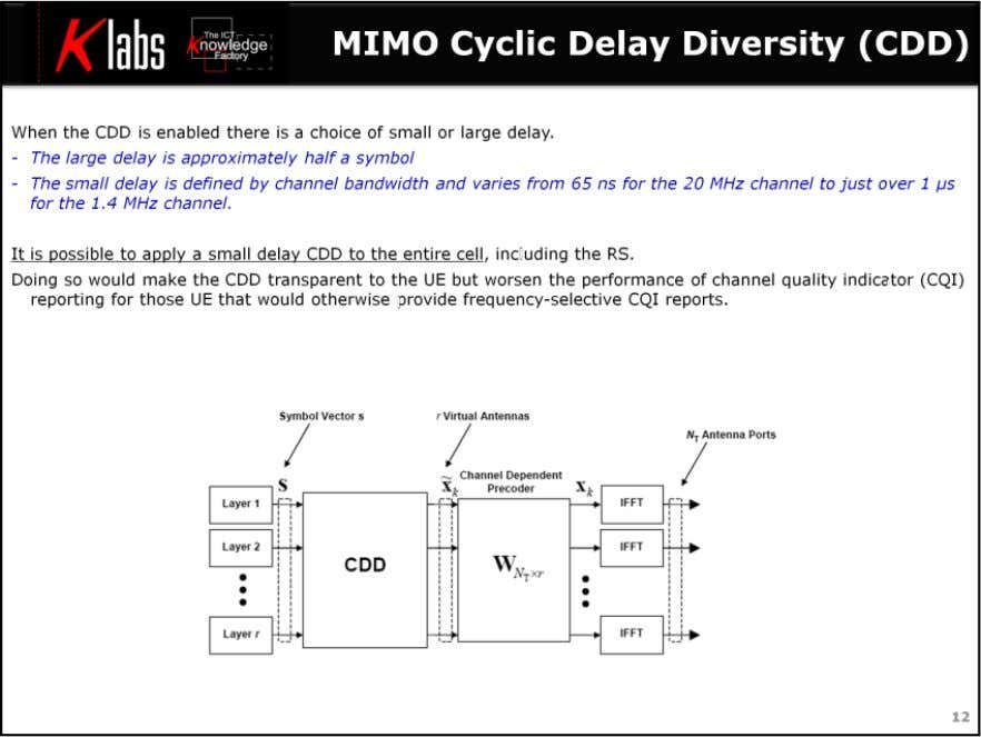 LTE MIMO Air Interface When the CDD is enabled there is a choice of small or