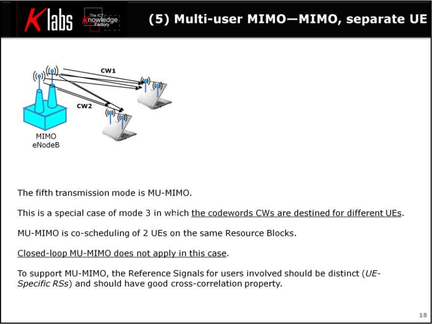 LTE MIMO Air Interface The fifth transmission mode is MU-MIMO. This is a special case of