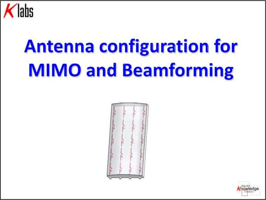 LTE MIMO Air Interface K Labs S.r.l. all right reserved Cap 3 - pag. 22