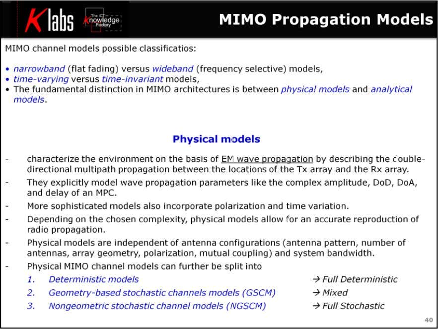 LTE MIMO Air Interface A variety of MIMO channel models, many of them based on measurements,