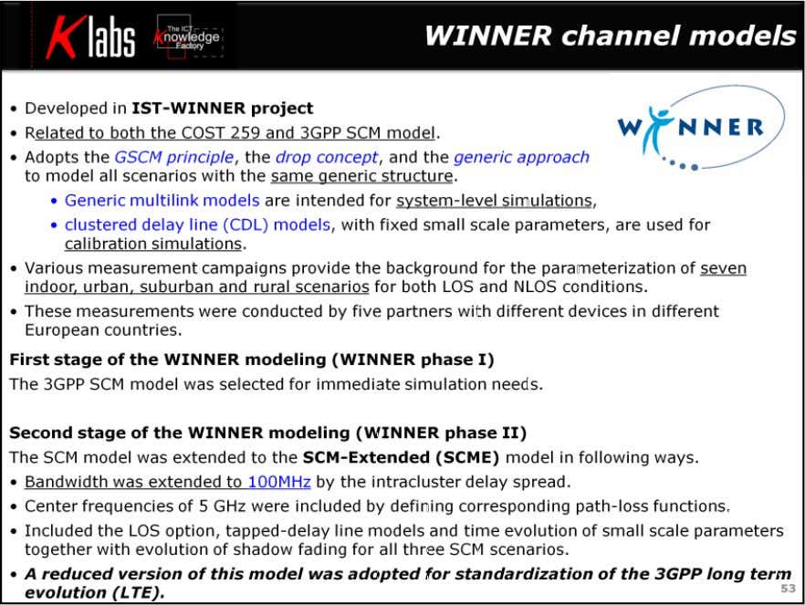 LTE MIMO Air Interface The channel models developed in the IST-WINNER project are related to both