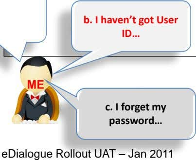 ME c. I forget my password… eDialogue Rollout UAT – Jan 2011