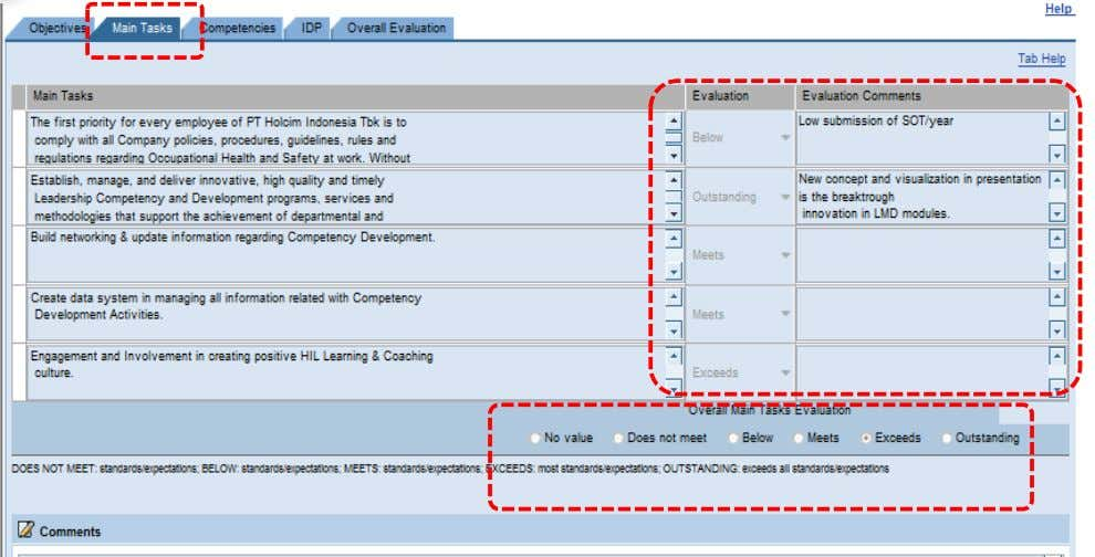 Evaluate overall Main Tasks achievement t maintained in SAP they can be manually maintained in the