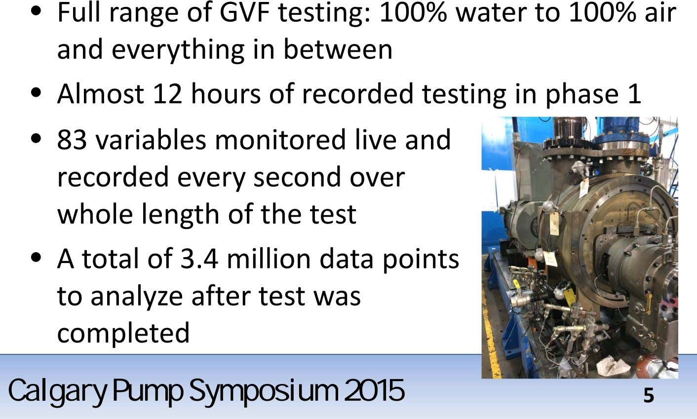 • Full range of GVF testing: 100% water to 100% air and everything in between