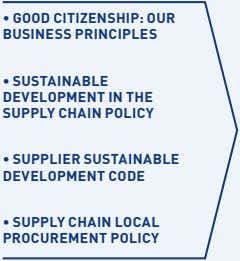 • GOOD CITIZENSHIP: OUR BUSINESS PRINCIPLES • SUSTAINABLE DEVELOPMENT IN THE SUPPLY CHAIN POLICY •