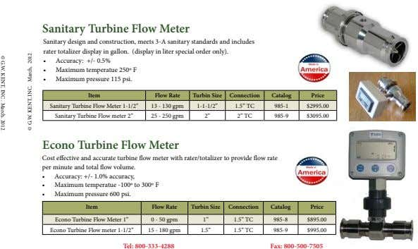 © G.W. KENT, INC . March. 2012 Sanitary Turbine Flow Meter Sanitary design and construction,