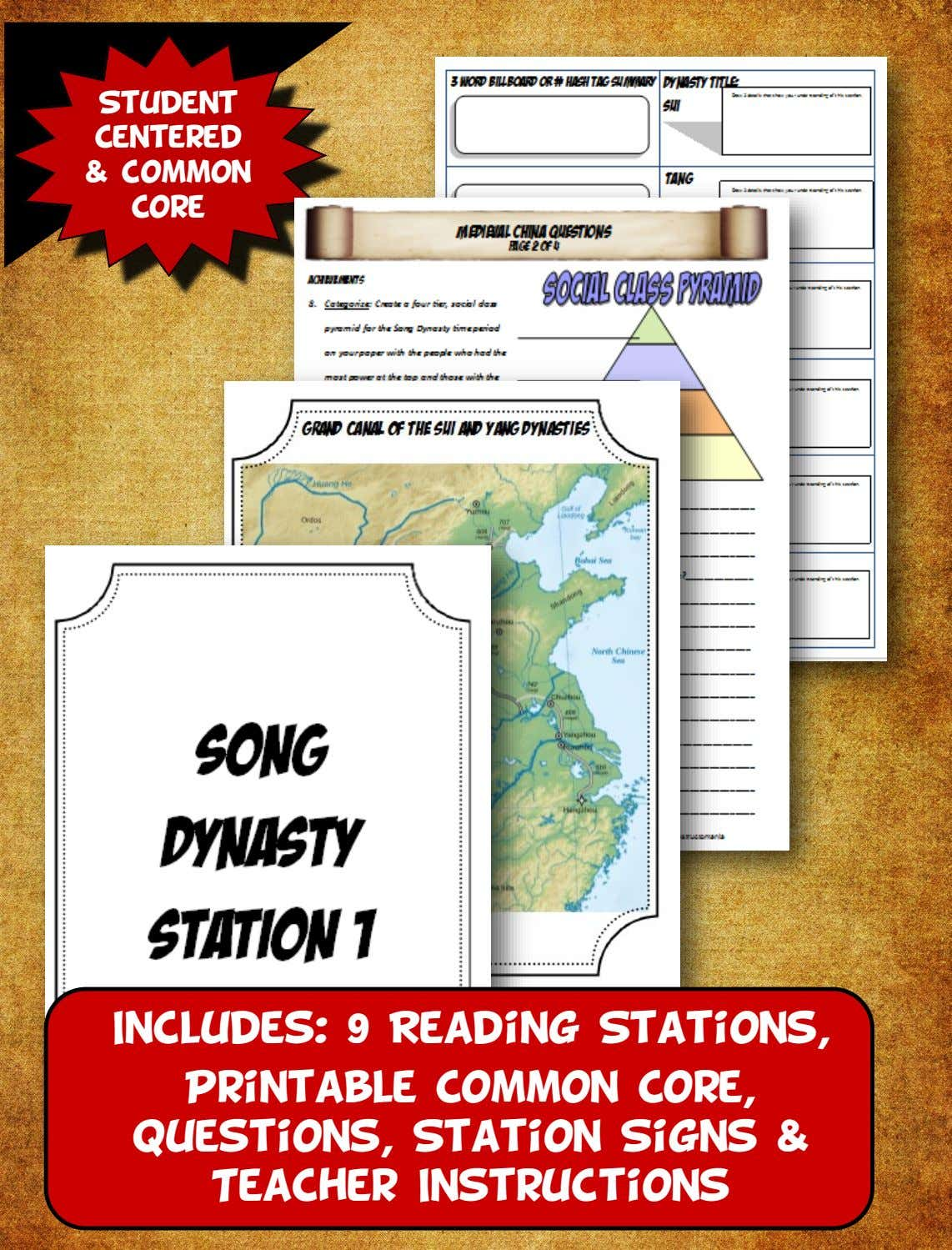 Student Centered & common Core Includes: 9 Reading Stations, Printable Common Core, Questions, Station Signs &