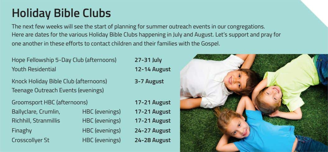 Holiday Bible Clubs The next few weeks will see the start of planning for summer