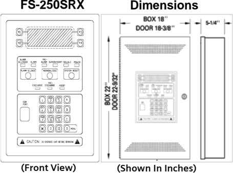 FS-250SRX Dimensions (Front View) (Shown In Inches)