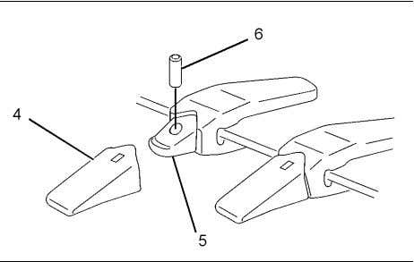 147 Maintenance Section Bucket Tips - Inspect/Replace Illustration 204 (4) Tip (5) Adapter (6) Pin g01198006