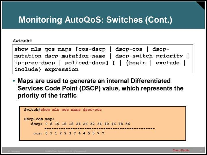 Monitoring AutoQoS: Switches (Cont.) Switch# • Maps are used to generate an internal Differentiated Services