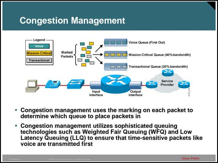 Congestion Management • Congestion management uses the marking on each packet to determine which queue
