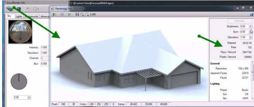 Rendering with AutoCAD using nXtRender Step 4 - Change the lighting to exterior This is a
