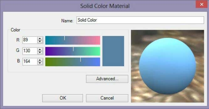 transparency. Color Settings for a new Solid Color Material RGB Color Computers use RGB color values