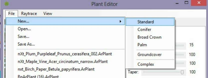 Plant Type Set the type from the File/New menu at the top. There are four tree