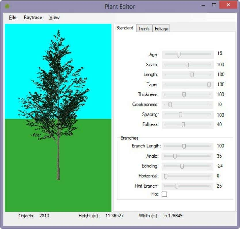 Working with Plants - 3.7 Each has different setting on the tabs of the tree editor.