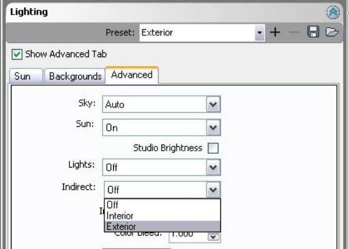 On the Advanced Tab, change Indirect from Off to Exterior. - 53 - Adding indirect lighting