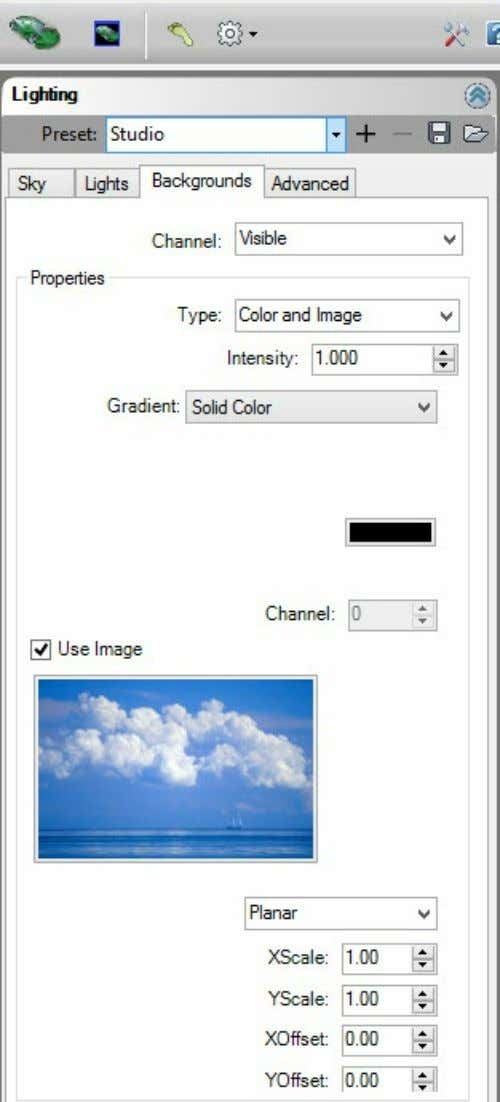 Tab Select a background image and set parameters. Channel : Visible, Reflected or Refracted. You can