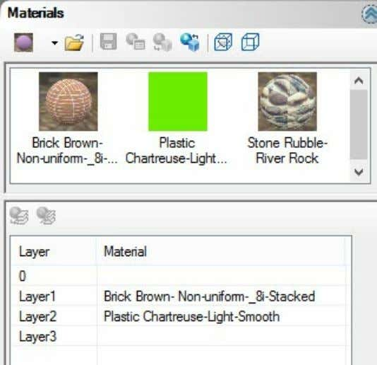 with AutoCAD using nXtRender Materials Tab Materials Tab Icons across the Top: New Material - Select