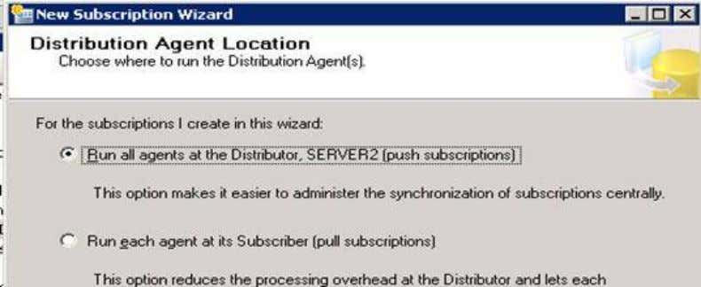Next 5. Select Push subscriptions 6. Next 7. Add Subscriber -> Select third instance ( Server1\test