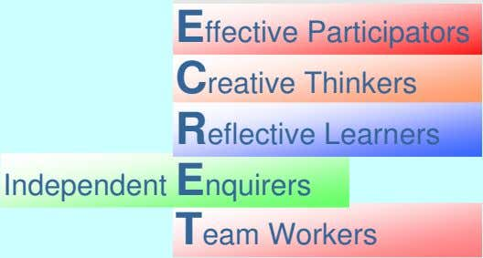 Effective Participators Creative Thinkers Reflective Learners Independent Enquirers Team Workers