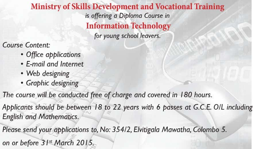 Ministry of Skills Development and Vocational Training is offering a Diploma Course in Information Technology