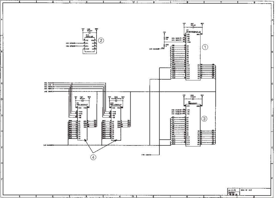 [ 2 ] ROM and DRAM group 1 ROM Main PCB Circuit Diagram 2/4 (2-megabit. megabit