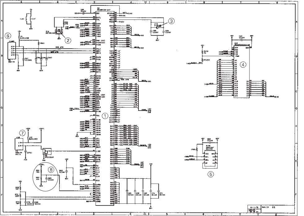 FAX725M/590DT/590MC/825MC/875MC [ 1 ] Primary function group Main PCB Circuit Diagram 1/5 1 FAX engine (ASIC)