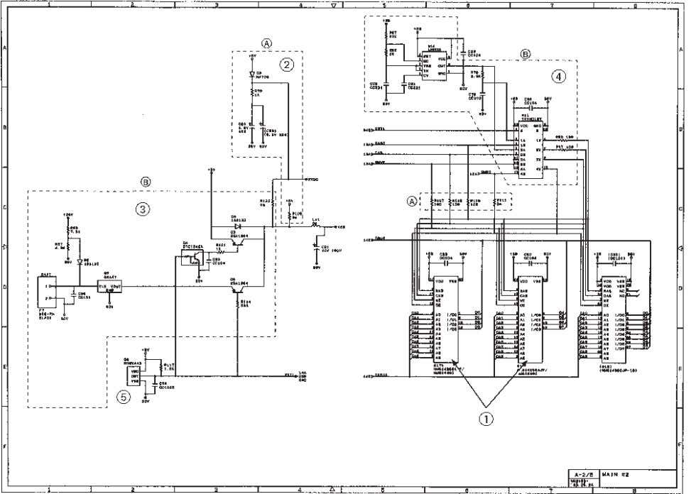[ 2 ] DRAM group Main PCB Circuit Diagram 2/5 1 DRAMs FAX725M: FAX590DT/590MC/825MC/875MC: Two 256-kilobyte