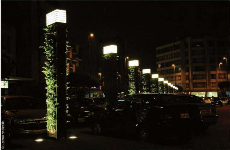 is a series of green plates that create a vertical garden, which is a reference point
