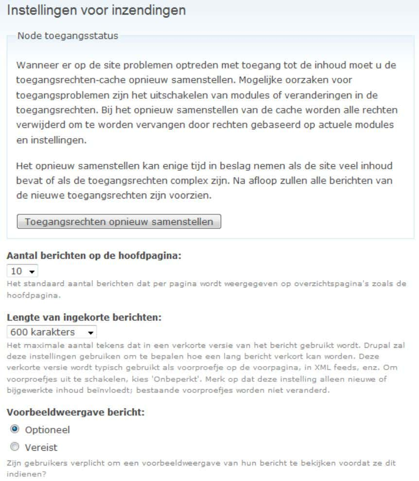 Drupal Pagina 47 4.6.3 Instellingen voor inzendingen 4.6.4 RSS-publicatie RSS of Really Simple Syndication wordt