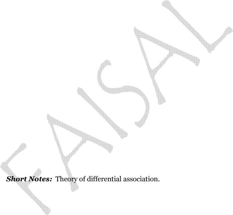 – Short Notes: Theory of differential association.