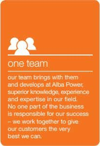 one team our team brings with them and develops at Alba Power, superior knowledge, experience and