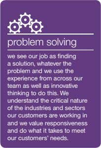 problem solving we see our job as finding a solution, whatever the problem and we use