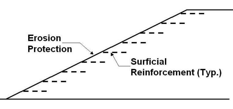 (a) (b) Figure 1-2. Generic cross sections of reinfor ced slope structures, reinforcements used to: (a)