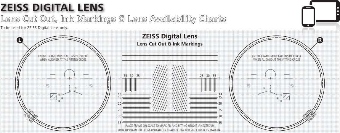 ZEISS DIGITAL LENS Lens Cut Out, Ink Markings & Lens Availability Charts To be used for